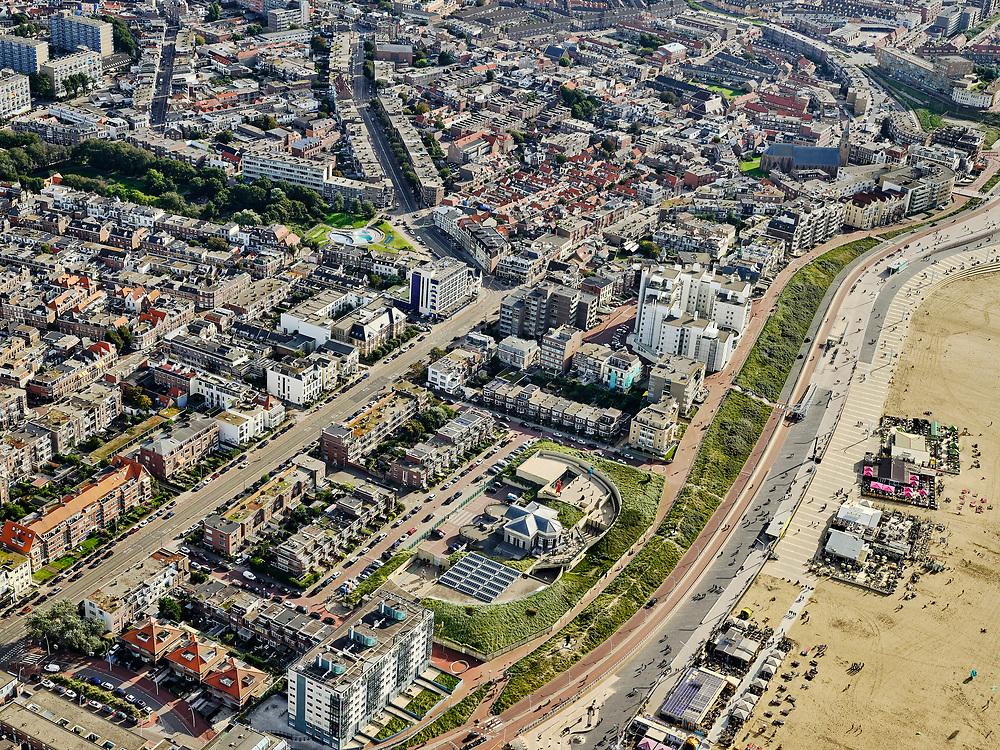 Nederland, Zuid-Holland, Den Haag, 14-09-2019; Scheveningen, strand, boulevard, Museum Beelden aan Zee.<br /> Scheveningen, beach and boulevard.<br /> luchtfoto (toeslag op standard tarieven);<br /> aerial photo (additional fee required);<br /> copyright foto/photo Siebe Swart