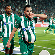 Bursaspor's Volkan Sen (R) celebrate his goal with team mate during the Turkish soccer super league match Bursaspor between Fenerbahce at the Ataturk Stadium in Bursa Turkey on Monday, 24 November 2014. Photo by Aykut AKICI/TURKPIX