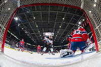 KELOWNA, BC - JANUARY 31: Dillon Hamaliuk #22 of the Kelowna Rockets skates to the front of the net of Lukáš Pařík #33 of the Spokane Chiefs at the start of third period at Prospera Place on January 31, 2020 in Kelowna, Canada. Pařík is a 2019 NHL entry draft pick of the Los Angeles Kings. Hamaliuk is a 2019 NHL entry draft pick of the San Jose Sharks.  (Photo by Marissa Baecker/Shoot the Breeze)