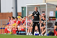 Wales women head coach Jayne Ludlow looks on from the dugout. Wales Women v Norway Women, Women's Euro 2017  Qualifying, group 8 match at the Newport Stadium in Newport, South Wales on Tuesday 7th June 2016. pic by  Andrew Orchard, Andrew Orchard sports photography.
