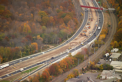 I-95 in East Haven & Branford Connecticut. Aerial Photograph taken November 8, 2005 at peak autumn foliage. Construction progress image capture. Showing interchanges, overpasses and Amtrak rail right of way where applicable.