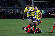 Peceli Yato of Clermont and Alexis Palisson of Lyon during the French championship Top 14 Rugby Union match between Lyon OU and Clermont on February 17, 2018 at Groupama stadium in Lyon, France - Photo Romain Biard / Isports / ProSportsImages / DPPI