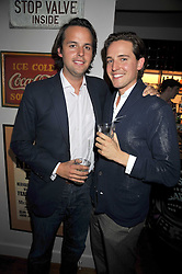 Left to right, brothers CHARLIE GILKES and ALEX GILKES at a party to celebrate the opening of Barts, Sloane Ave, London on 26th February 2009.