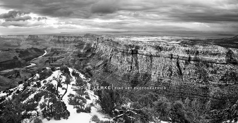 A Black And White Rendition, East Rim View Of The Grand Canyon National Park, Arizona, During Winter