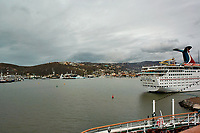 """(Image six of eight). Panorama of the Ensenada harbor in Mexico on a grey and raining day from the deck of the MV World Odyssey. The other cruse ship is the Carnival Imagination. Once all of the students, faculty, staff, and life long learners were aboard we would be ready to begin the 102 day """"round the world"""" Semester at Sea Spring 2016 Voyage. Composite of eight images taken with a Nikon N1 V3 camera and 10-30 mm lens (ISO 200, 10 mm, f/11, 1/250 sec). Panorama stitched using AutoPano Giga Pro."""