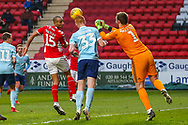 Accrington Stanley goalkeeper Jonathan Maxted (1) punches clear from the header from Charlton Athletic midfielder Karlan Ahearne-Grant (18)  during the EFL Sky Bet League 1 match between Charlton Athletic and Accrington Stanley at The Valley, London, England on 19 January 2019.
