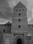 View of the main tower, Trakai Castle, one of LIthuania's most famous historical landmarks.