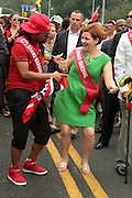 September 3, 2012- Brooklyn, New York: (L-R) Soca Recording Artist Machel Montano and New York City Council Speaker Christine Quinn,  attend the 45th Annual West Indian Day Labor Day Celebration held on September 3, 2012 along Brooklyn's famed Eastern Parkway. It's one of New York City's most popular parades, a cultural festival that celebrates West Indian history, culture, music and food. Attended by as many as two million people. (Photo by Terrence Jennings)
