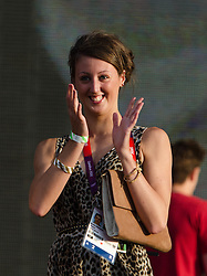 © Licensed to London News Pictures. 11/08/2012. London, UK.  A range of Team GB Olympic medal winning athletes on stage at BT London Live, Hyde Park.  Today is the birthday of the athlete in the picture and the audience at Hyde Park sings her happy birthday.  Photo credit : Richard Isaac/LNP