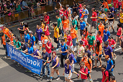 United States, Washington, Seattle Gay Pride Parade, June 28th, 2015. Contingent of Facebook employees marching.