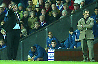 Photo. Aidan Ellis.<br /> Blackburn Rovers v Bolton Wanderers.<br /> FA Barclaycard Premiership.<br /> 10/01/2004.<br /> Blackburn's manager Graeme Souness cant believe his team are losing 4-3 as big Sam Allardyce dishes out instructions to his team