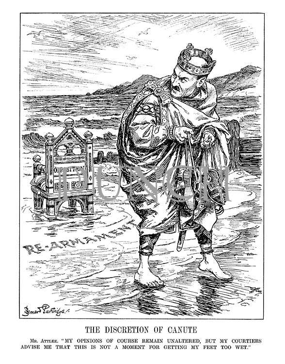 "The Discretion of Canute. Mr. Atlee. ""My opinions of course remain unaltered, but my courtiers advise me that this is not a moment for getting my feet too wet."""