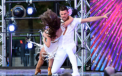 Janette Manrara (left) and Aljaz Skorjanec arriving at the red carpet launch of Strictly Come Dancing 2019, held at BBC TV Centre in London, UK.