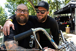 Pangea Speed's Andy Carter (R) with his brother Cameron Carter at the Born-Free Vintage Motorcycle show at Oak Canyon Ranch, Silverado, CA, USA. Sunday, June 23, 2019. Photography ©2019 Michael Lichter.