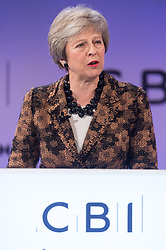 November 19, 2018 - London, London, United Kingdom - British Prime Minister Theresa May makes a keynote speech at the annual Confederation of British Industry (CBI) conference, held at Intercontinental Hotel in London, Britain, on Nov. 19, 2018. Her speech focussed on business support for her draft Brexit withdraw plan. (Credit Image: © Ray Tang/ZUMA Wire)