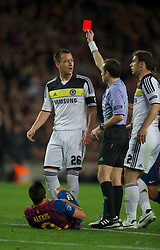 24.04.2012, Stadion Camp Nou, Barcelona, ESP, UEFA CL, Halblfinal-Rueckspiel, FC Barcelona (ESP) vs FC Chelsea (ENG), im Bild Chelsea John Terry is shown the red card by referee during the UEFA Championsleague Halffinal 2st Leg Match, between FC Barcelona (ESP) and FC Chelsea (ENG), at the Camp Nou Stadium, Barcelona, Spain on 2012/04/24. EXPA Pictures © 2012, PhotoCredit: EXPA/ Propagandaphoto/ David Rawcliff..***** ATTENTION - OUT OF ENG, GBR, UK *****