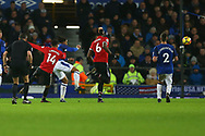 Jesse Lingard of Manchester United (14) shoots and scores his teams 2nd goal. Premier league match, Everton v Manchester Utd at Goodison Park in Liverpool, Merseyside on New Years Day, Monday 1st January 2018.<br /> pic by Chris Stading, Andrew Orchard sports photography.