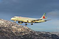 Air Canada Embraer 190 landing in Whitehorse, Yukon.