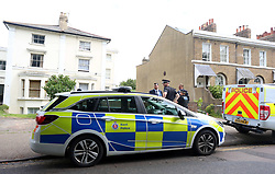 © Licensed to UK  News in Pictures. Gravesend Kent Monday 3rd July 2017  A property on Clarence Place remained  sealed off by Kent office following an early morning assault. Other resident who share the building have been made to leave by Police whilst a full scene of crime examination takes place. Clarence Place is still a hive of Police activity with four Police cars and other specialist scene of crime officers and CID officers.   A spokesman for Kent Police Said: Kent Police was called at 7.32am on Monday 3 July 2017 to a report of an assault in Clarence Place, Gravesend.<br /> <br /> Officers attended the scene alongside the South East Coast Ambulance Service and the Kent Fire and Rescue Service.<br /> <br /> A man in his 30s was taken via air ambulance to a hospital in London to be treated for injuries.<br /> <br /> A second man has been arrested. Enquiries are ongoing.©UKNIP