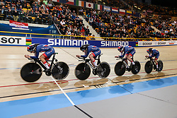 March 1, 2018 - Apeldoorn, Netherlands - Katie Archibald, Elinor Barker, Laura Kenny and Emily Nelson  of Britain competes in the Women's Team Pursuit final during UCI Track Cycling World Championships Apeldoorn 2018   in Apeldoorn, the Netherlands on 1st March 2018. The track cycling worlds take place from 28 February to 04 March. (Credit Image: © Foto Olimpik/NurPhoto via ZUMA Press)