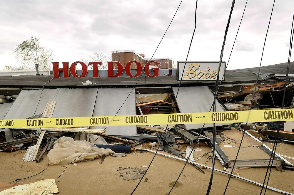 The remains of the storm-ravaged Hot Dog Bob's in downtown Keyport four days after Hurricane Sandy made it's way through the area on November 2. Hurricane Sandy forced the shutdown of mass transit, schools and financial markets, sending coastal residents fleeing for higher ground, and threatened a dangerous mix of high winds and soaking rain.