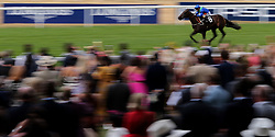 Victory Command ridden by jockey Silvestre De Sousa goes onto win the Wooldridge Group Pat Eddery Stakes during King George Day at Ascot Racecourse.
