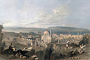Machine colorised St. Jean D'Acre, Mount Carmel in the Distance From Syria, the Holy Land, Asia Minor, etc. : by  Carne, John, 1789-1844; Bartlett, W. H. (William Henry), 1809-1854; Purser, William Publisher: London, Fisher [1839-40]