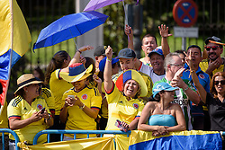 Colombian fans at Madrid Challenge by La Vuelta an 87km road race in Madrid, Spain on 11th September 2016.