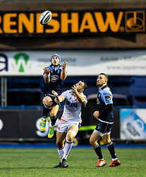 Matthew Morgan of Cardiff Blues goes for the high ball<br /> <br /> Photographer Simon King/Replay Images<br /> <br /> Guinness PRO14 Round 2 - Cardiff Blues v Edinburgh - Saturday 5th October 2019 -Cardiff Arms Park - Cardiff<br /> <br /> World Copyright © Replay Images . All rights reserved. info@replayimages.co.uk - http://replayimages.co.uk