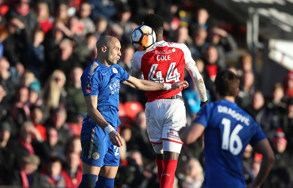 Leicester City's Yohan Benalouane and Fleetwood Town's Devante Cole<br /> <br /> Photographer Stephen White/CameraSport<br /> <br /> The Emirates FA Cup Third Round - Fleetwood Town v Leicester City - Saturday 6th January 2018 - Highbury Stadium - Fleetwood<br />  <br /> World Copyright © 2018 CameraSport. All rights reserved. 43 Linden Ave. Countesthorpe. Leicester. England. LE8 5PG - Tel: +44 (0) 116 277 4147 - admin@camerasport.com - www.camerasport.com