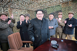 Undated photo from North Korean News Agency shows North Korean leader Kim Jong-un visiting a Korean People's Army unit, in an undisclosed location, North Korea. Photo released March 2016. Photo by Balkis Press/ABACAPRESS.COM