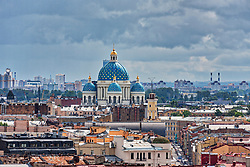 Trinity Cathedral and city skyline, Saint Petersburg, St Petersburg, Russia