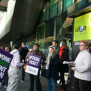 Official picket line outside the White Chapel library. It is the beginning of the day of a demonstartion against pension cuts and general cuts in the public sector.