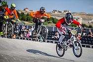 #280 during practice at the 2018 UCI BMX World Championships in Baku, Azerbaijan.