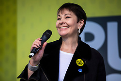 "© Licensed to London News Pictures. 23/03/2019. London, UK. Caroline Lucas  MP speaks in Parliament Square after an estimated one million people marched through central London to demand that government allow a ""People's Vote"" on the Brexit deal. Several key votes will be held in Parliament in the coming week. Photo credit: Rob Pinney/LNP"