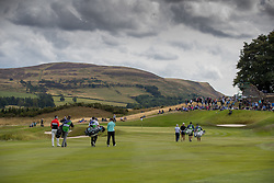 Lee Slattery and Georgia Hall make their way to the 2nd green during day ten of the 2018 European Championships at Gleneagles PGA Centenary Course.