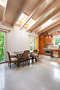 Architecture, country house, lovely kitchen with wooden dining table