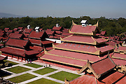 Mandalay Palace, last royal palace of the last Burmese monarchy. It was completely made from teak wood and built in the center of a large citadel,Burma.<br /> Note: These images are not distributed or sold in Portugal