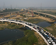 Traffic jam on a newly built highway on the outskirt of Delhi, India.