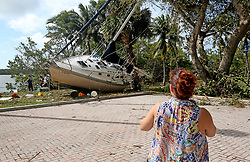 A sailboat came to rest near a parking lot off of Dinner Key in Miami, FL, USA after Hurricane Irma on Monday, September 11, 2017. Photo by Mike Stocker/Sun Sentinel/TNS/ABACAPRESS.COM