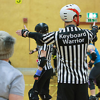 Arcadia Roller Derby take on Roller Derby Leicester in their first competitive bout for the British Championships (Tier 4 West) at Kingsway Leisure Centre, Widnes, 2017-02-11