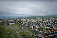 View for the city from the Kars Castle ...Kars Castle  also known as the citadel, sits at the top a rocky hill overlooking Kars.