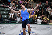 Matt Ludwig celebrates after placing second in the elite men's competition at 19-0 1/4 (5.80m) during the National Pole Vault Summit, Friday, Jan. 17, 2020, in Reno, Nev.