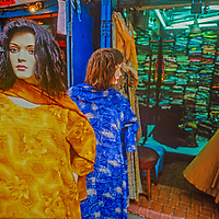 Mannequins stand in front of a sari shop in a bazaar in Kathmandu, Nepal.