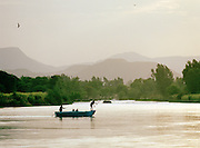 Boat carrying passengers on Lake Tana, North West Ethiopia