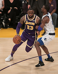 October 31, 2018 - Los Angeles, California, U.S - LeBron James #23 of the Los Angeles Lakers goes around defender during their NBA game with the Dallas Mavericks on Wednesday October 31, 2018 at the Staples Center in Los Angeles, California. (Credit Image: © Prensa Internacional via ZUMA Wire)