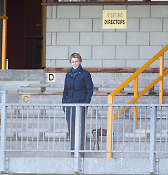 Leeann Dempster, Hibernian's Chief Executive, at the end.<br /> Alloa Athletic 2 v 1 Hibernian, Scottish Championship game played 30/8/2014 at Alloa Athletic's home ground, Recreation Park, Alloa.