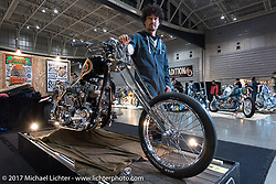 "Cherry's Company's Kaichiroh ""Kross"" Kurosu with his custom 1949 Harley-Davidson Panhead at Mooneyes 26th Annual Yokohama Hot Rod and Custom Show. Yokohama, Japan. Saturday December 2, 2017. Photography ©2017 Michael Lichter."
