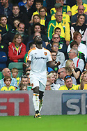 Hull City's Nouha Dicko celebrates scoring the first goal during the EFL Sky Bet Championship match between Norwich City and Hull City at Carrow Road, Norwich, England on 14 October 2017. Photo by John Marsh.