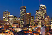 Picture of Downtown Montreal skyline at dusk and blue hour as viewed from 20th floor of a building on Mckay avenue